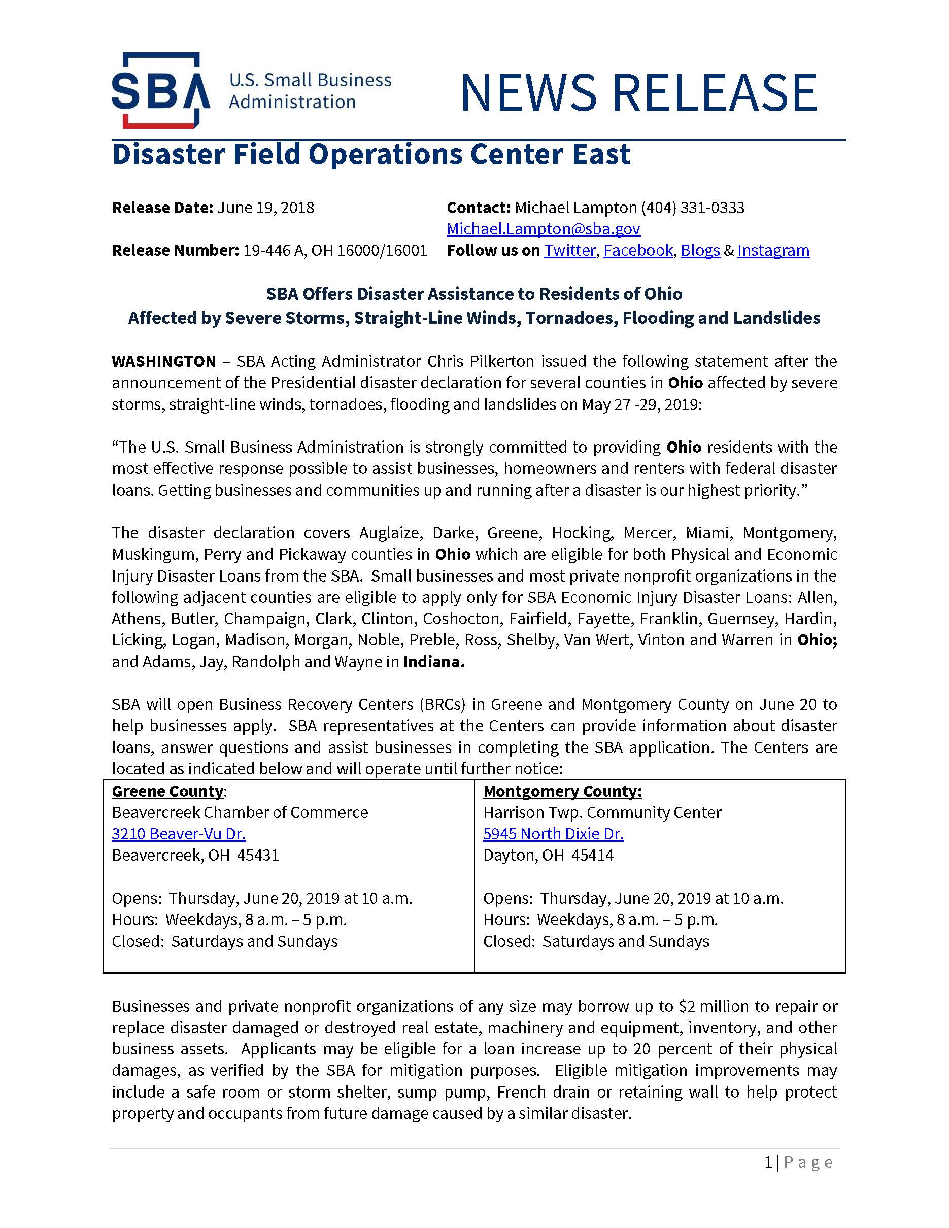 SBA Offers Disaster Assistance to OH Businesses and Residents Page 1