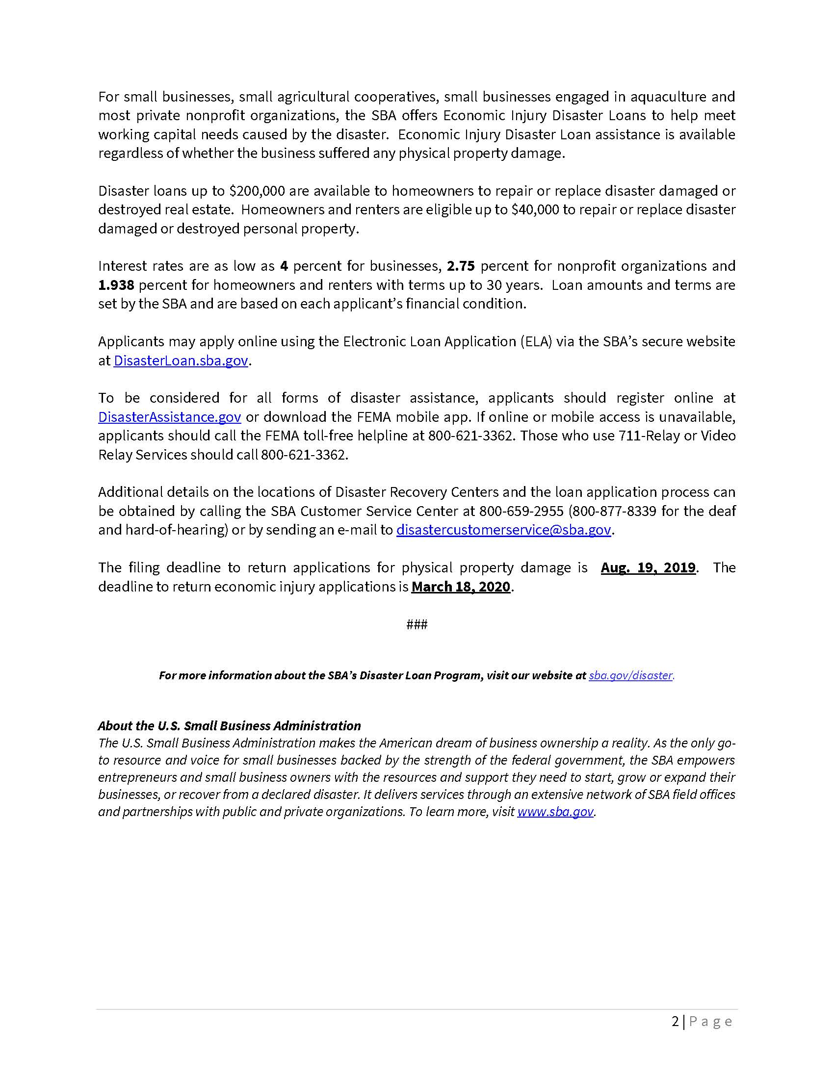 SBA Offers Disaster Assistance to OH Businesses and Residents Page 2